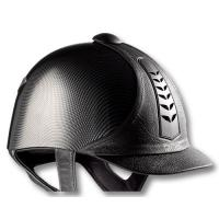 RIDING CAP TATTINI IN FAUX LEATHER AND CARBON LOOK