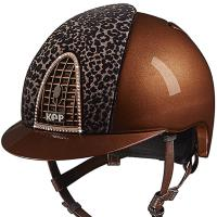 KEP ITALIA HELMET CROMO METAL BROWN VELVET BABOON AND SWAROVSKI
